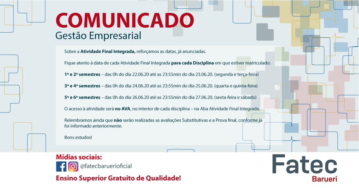Gestão Empresarial - Comunicado